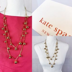 Kate Spade Gold Ball Rhinestone Layer Necklace NWT
